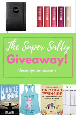 A Super Salty Giveaway, featuring a Passion Planner, Books, Unicorn Clothes, Younique BonBons, and more! From thesaltymamas.com